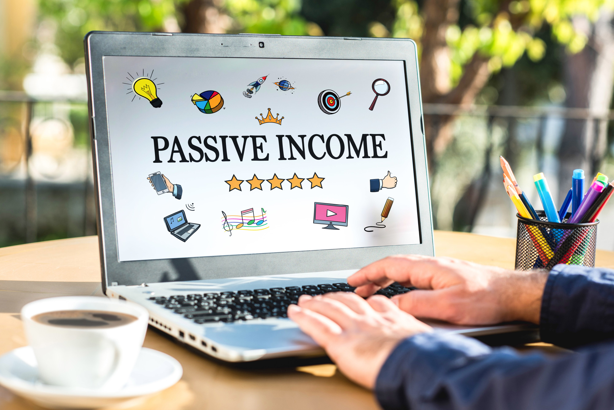 passive income on computer screen
