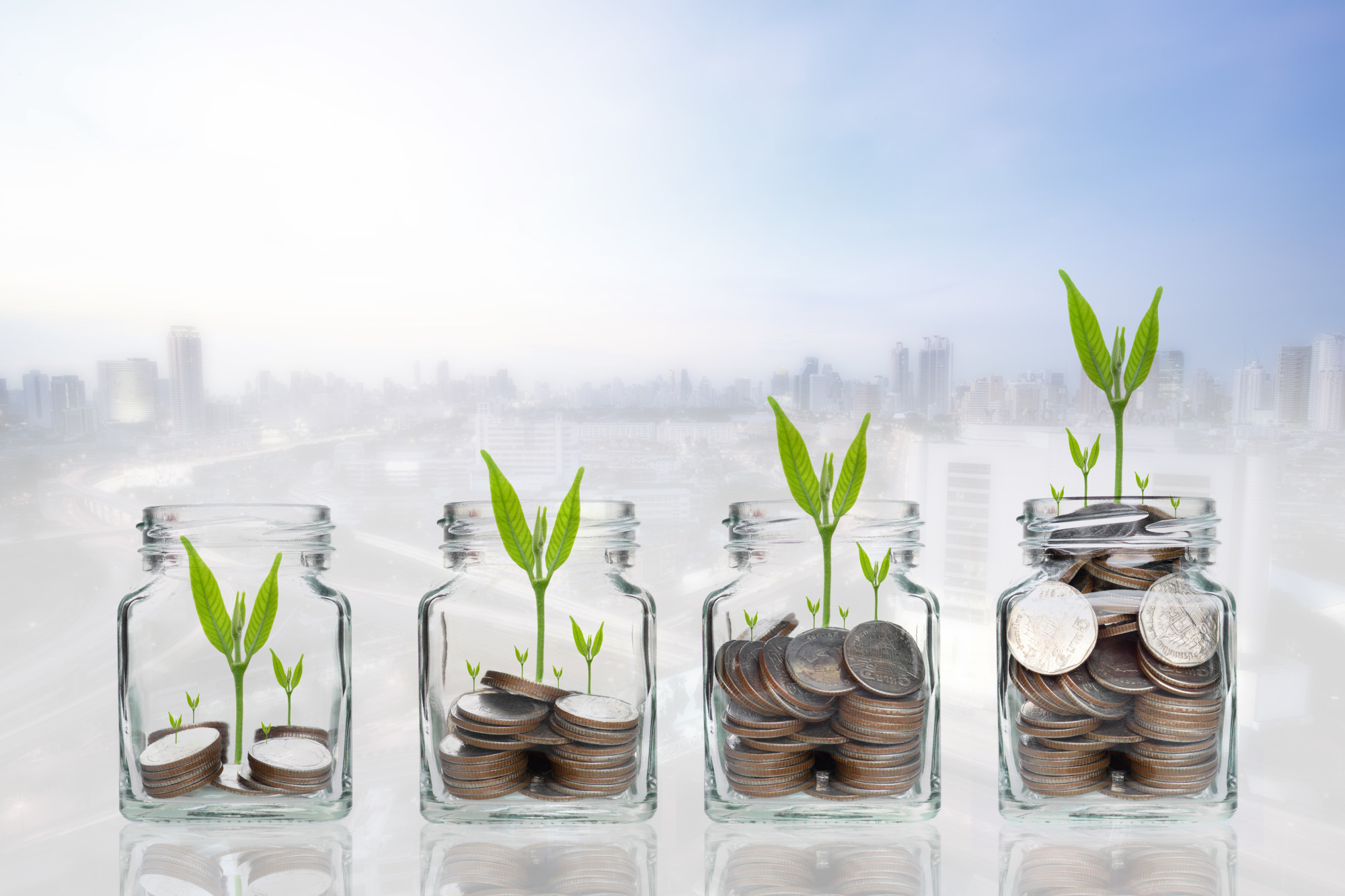 jars of money with growing plants