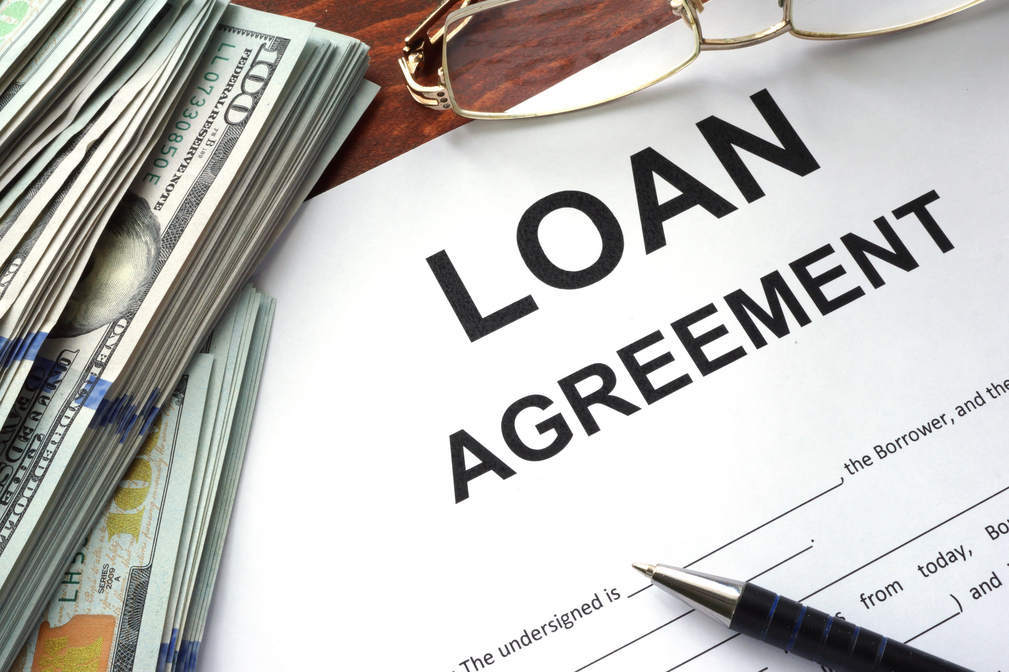 loan agreement form and money